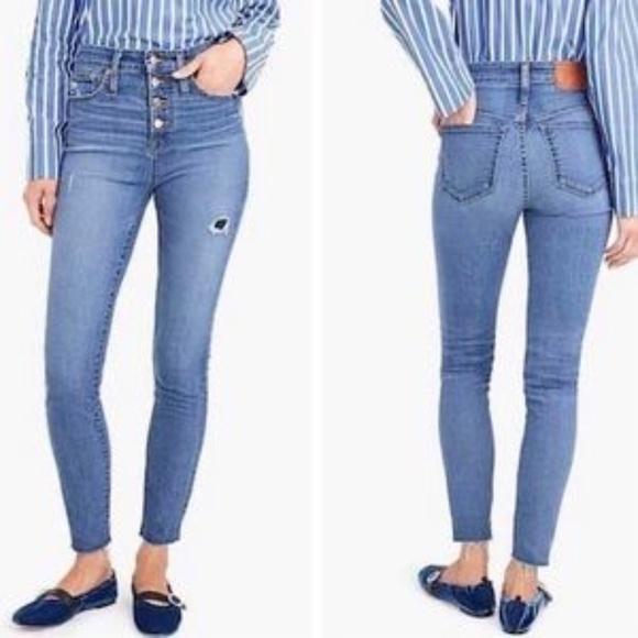 J. Crew Exposed Button Curvy Toothpick Denim Jeans